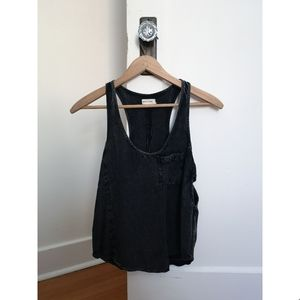 silence + noise Washed Black Racerback Tank Top
